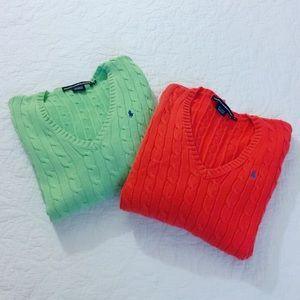 Ralph Lauren V-Neck Cable Knit Sweater Bundle